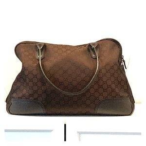 GUCCI Nylon Monogram Large Duffle Bag Brown